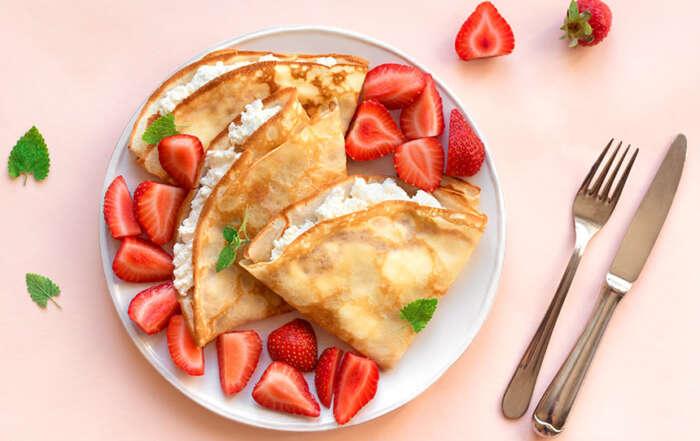 Crêpes con crema di ricotta e fragole